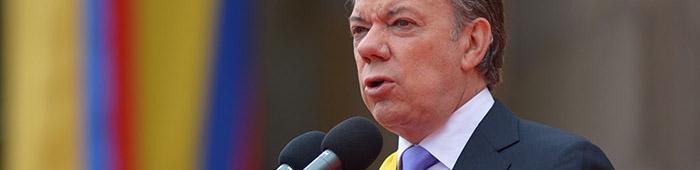El Presidente Santos durante la posesión de su segundo mandato.