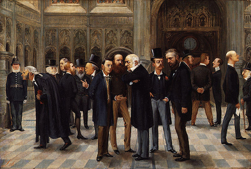 Lobby en el Parlamento Inglés, caricatura de Liborio Prosperi publicada en Vanity Fair en 1886..