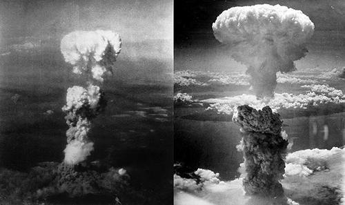 Nube de hongo del bombardeo de Hiroshima y Nagasaki en Japón.