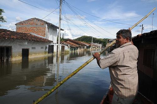 Inundación en el municipio de La Victoria en el Valle del Cauca durante la temporada invernal del año 2011.