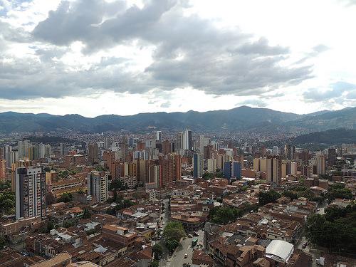 Vista aérea de Medellín.