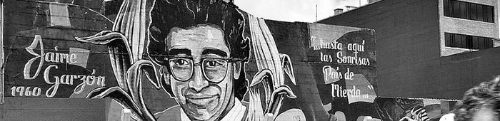 Grafiti del humorista y periodista Jaime Garzón Forero en la calle 26 de Bogotá.