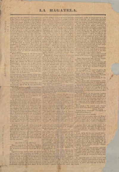 Página del periódico La Bagatela publicada en 1892.