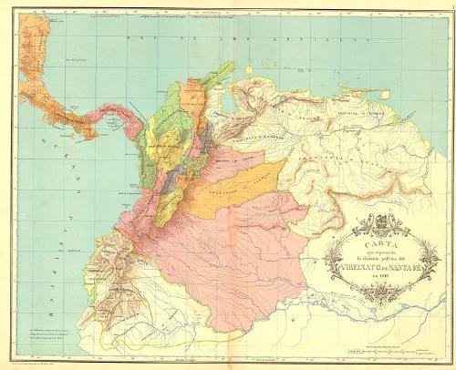 División política del Virreinato de Santafé en 1810.