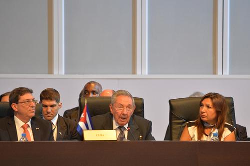 El Presidente cubano Raúl Castro durante la VII Cumbre de las Américas.