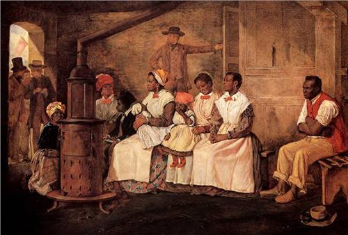 Esclavos esperando a ser vendidos. Oleo sobre tela. 1861.