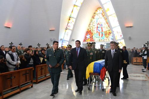 Funeral de los soldados dados de baja en combate en Cauca, el pasado 15 de abril.