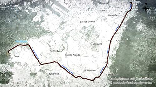 Plano del primer trazado del metro de Bogotá.