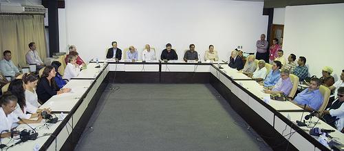 Las delegaciones de paz del Gobierno y de las Farc en La Habana, Cuba.