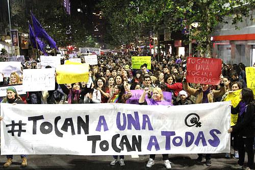 Marcha en contra del asesinato de Rosa Elvira Cely y el feminicidio en el Parque Nacional de Bogotá.