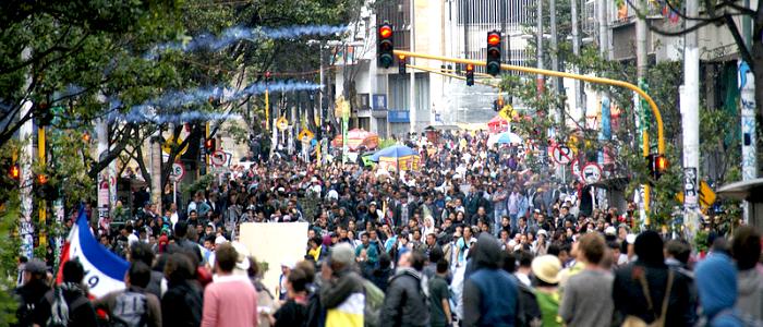 Protestas durante el Paro Nacional Agrario en el año 2013.
