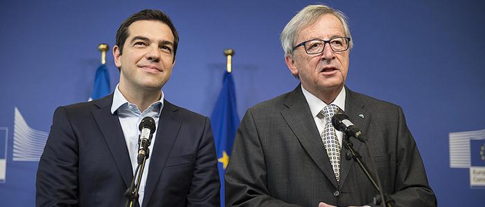 El Primer Ministro Griego Alexis Tspiras y el Presidente de la Comisión Europea, Jean-Claude Juncker.