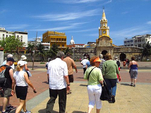 Turistas extranjeros en Cartagena de Indias.