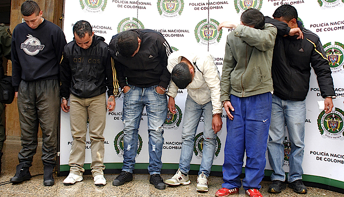 Banda de delincuentes capturados por la Policía Nacional.