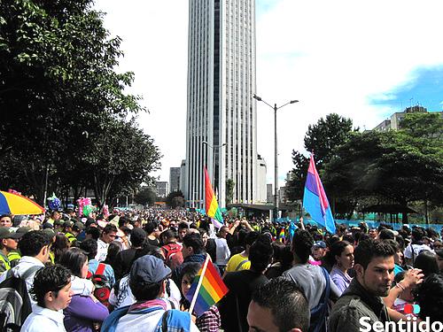 Marcha del Orgullo LGBTI en el centro de Bogotá.