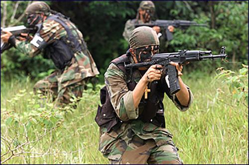 Paramilitares en la selva colombiana, antes del proceso de paz con las AUC.