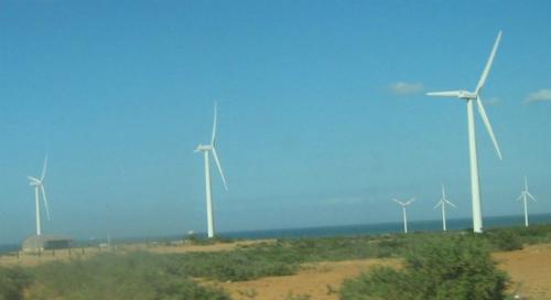 Parque eólico Jepírachi en La Guajira.