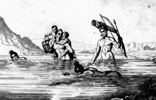 Mujeres Timucua pescando. Dibujo del artista francés Jacques Le Moyne.