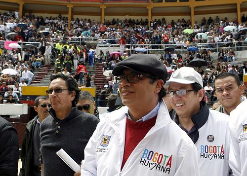 El Alcalde Mayor, Gustavo Petro, en la Plaza de Toros LA Santamaría.