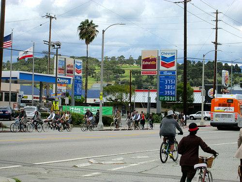 Bici-carriles en Los Ángeles, California.