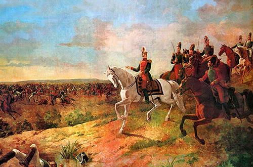 Batalla de Junín, 1824. Óleo que retrata al libertador en una de sus campañas militares.