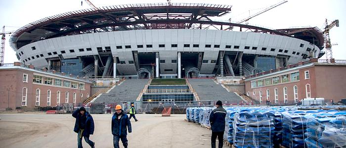 Construcción del estadio Zenit Arena en la ciudad rusa de San Petersburgo.