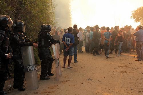 Encuentro de Manifestantes y la Fuerza Pública en Buriticá, antioquia, durante el Paro Agrario.