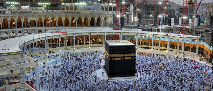 Masjid Al-Haram o la Mezquita Sagrada durante la peregrinación del Hajj, en la ciudad de la Mecca en Arabia Saudita.
