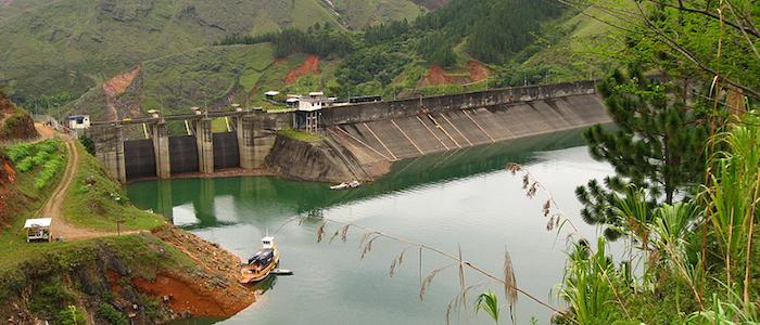 Represa de Salvajina en Cauca, Colombia.