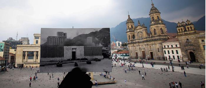 El Palacio de Justicia, en el atentado y el edificio actual.