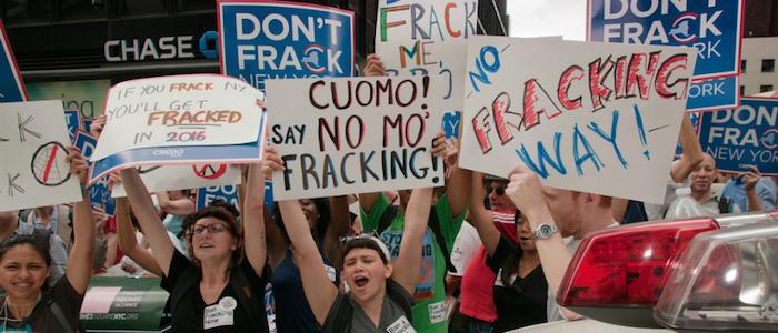 Protestas en Nueva York en contra del fracking.