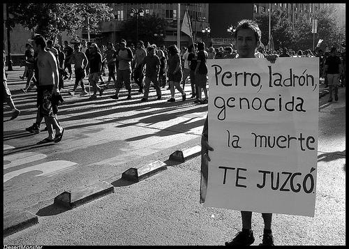 Manifestaciones en Santiago de Chile después de la muerte de Augusto Pinochet.