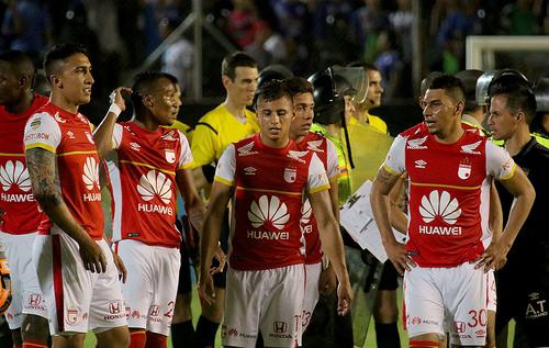 Jugadores del Independiente Santafé en la Copa Sudamericana.