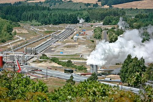 Planta de generación geotérmica en Nueva Zelanda.