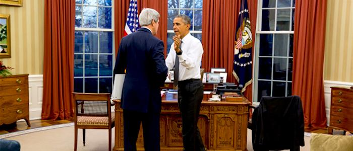 El Presidente norteamericano Barack Obama junto al Secretario de Estado John Kerry.