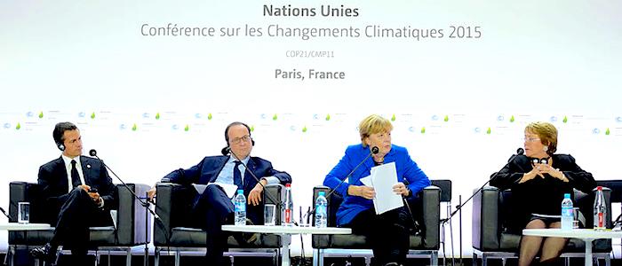 Los mandatarios de Alemania, Chile, Francia y México durante la 21va Conferencia del Cambio Climático en París.