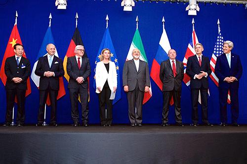 Los cancilleres de los países firmantes del acuerdo P5+1 que legitimó el programa atómico iraní.