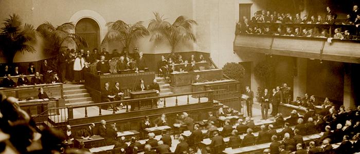 Apertura oficial de la Liga de las Naciones en Oslo, en 1920.