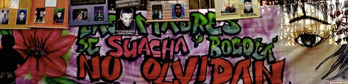 grafitti con imágenes de los jóvenes víctimas de los falsos positivos