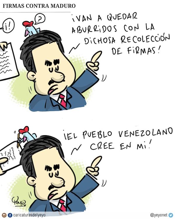 Firmas contra Maduro. ¡van a quedar aburridos con la dichosa recolección de firmas! Dice maduro mientras el pajarito en su hombro firma.