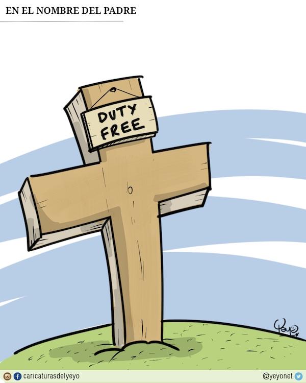 En el nombre del padre. Una cruz con un letrero de Duty Free