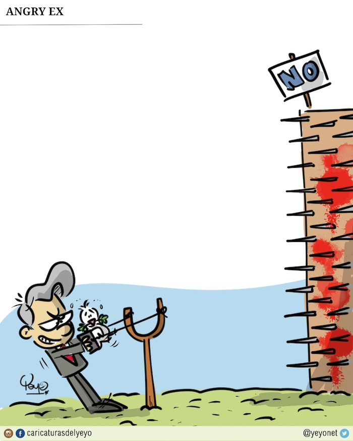 Al estilo angry bird Uribe pone en una cauchera a la paloma de la paz.