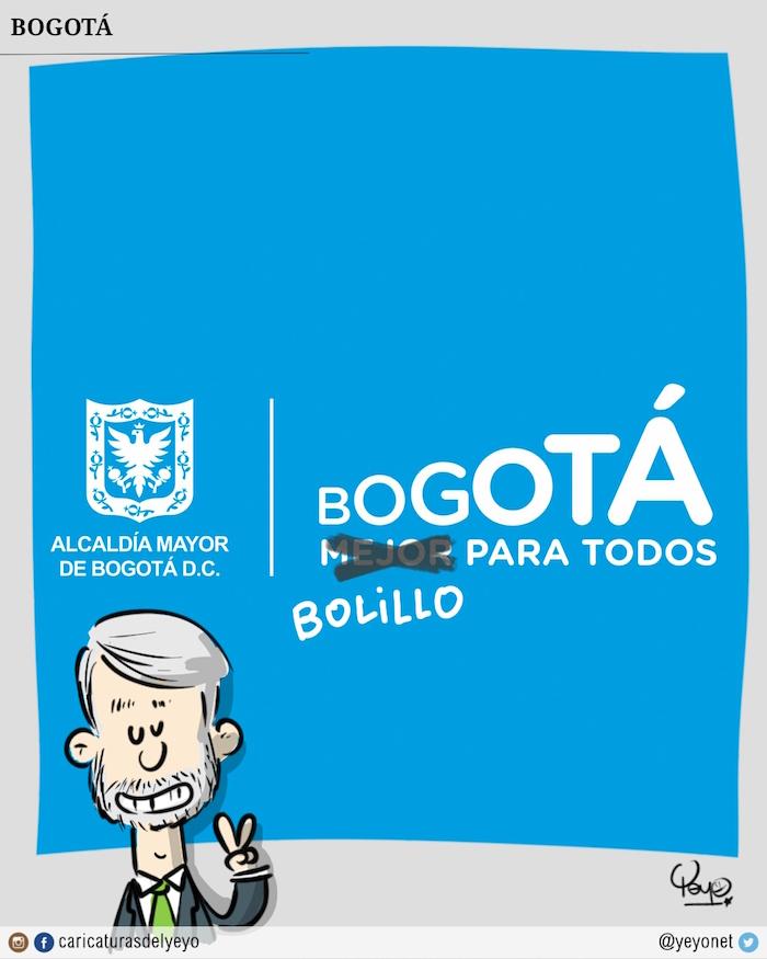Al logo de Bogotá le tacharon el mejor para todos y dice Bolillo para todos.