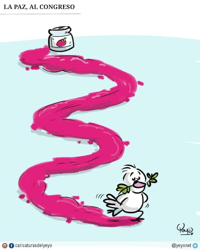 La paloma de la paz patina sobre una pista de mermelada.