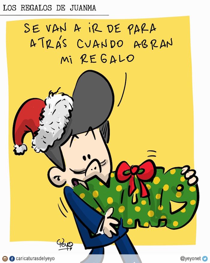 Los regalos de Juanma. Va con un regalo del IVA del 19% y dice: se van a ir para atrás cuando abran mi regalo.