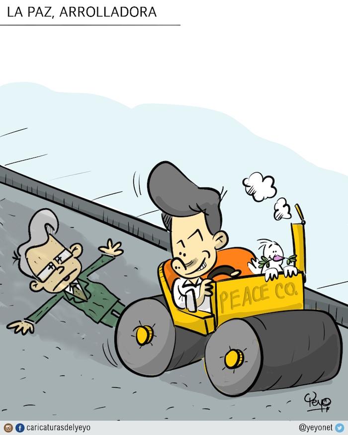 """La paz arrolladora de Santos. Santos pasa en una aplanadora de marca """"peace co"""" sobre Uribe, que está aplastado contra el piso."""