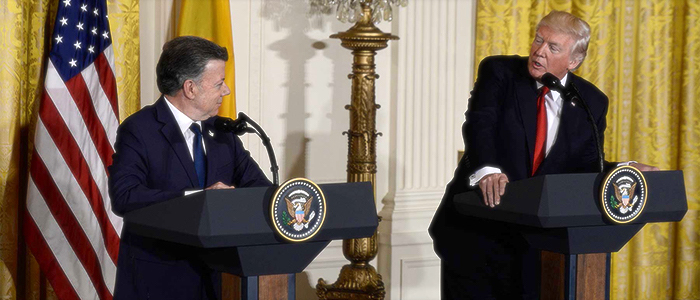 El presidente Juan Manuel Santos con el presidente de EEUU Trump