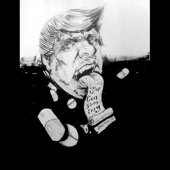 Donald Trump tiene un letrero que sale de su boca y dice: Stop consuming
