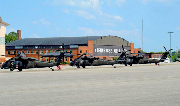 Helicópteros de la Guardia Nacional.