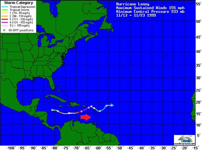 Trayectoria del huracán Lenny de oeste a este